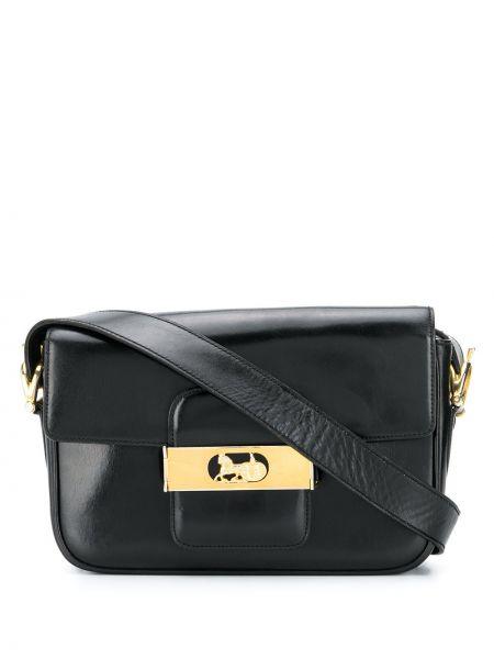 Черная кожаная сумка с карманами из натуральной кожи Céline Pre-owned