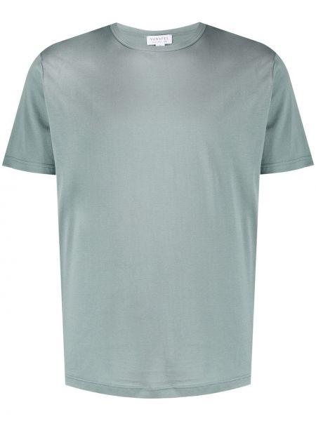 Koszula krótkie z krótkim rękawem wyposażone zielona Sunspel