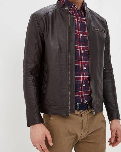 Кожаная куртка утепленная коричневый Selected Homme