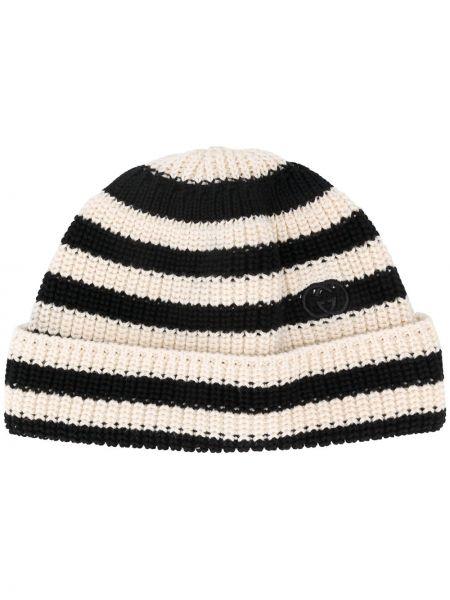Bawełna bawełna biały czapka zimowa z paskami Gucci