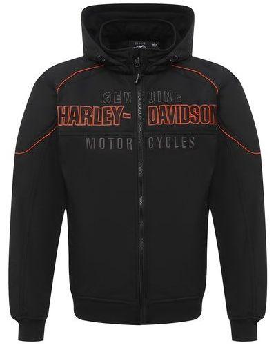 Черный бомбер с капюшоном из плотной ткани Harley Davidson