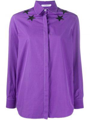 Фиолетовый классический топ на пуговицах с воротником Givenchy Pre-owned