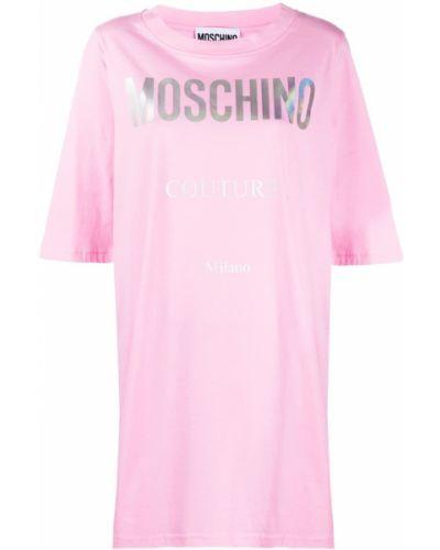 Хлопковое розовое платье мини с вырезом Moschino
