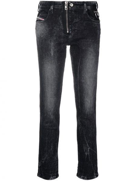 Хлопковые черные укороченные джинсы Diesel
