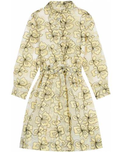 Платье мини на пуговицах с цветочным принтом Maje