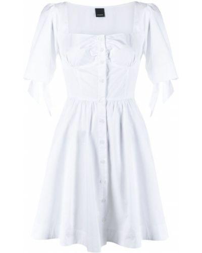 Расклешенное белое платье А-силуэта с короткими рукавами Pinko