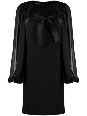 Черное платье прозрачное с бантом с вырезом Giambattista Valli