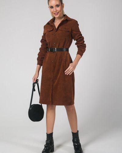 Классическое платье на пуговицах с воротником вельветовое Valentina