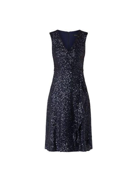 Niebieski sukienka koktajlowa z dekoltem z zamkiem błyskawicznym z cekinami Paradi