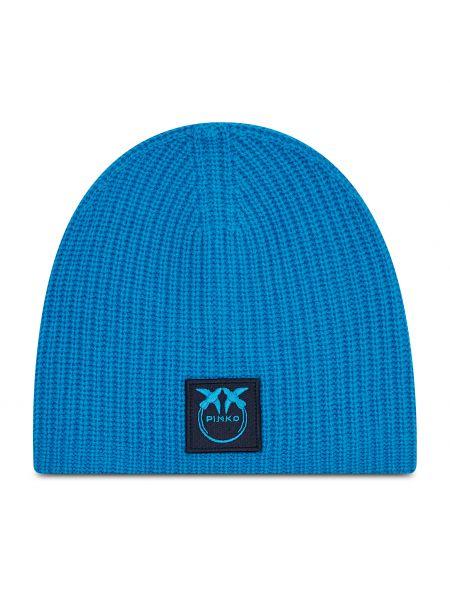 Niebieska z kaszmiru czapka Pinko