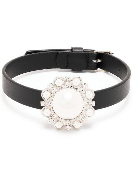 Черное кожаное ожерелье с жемчугом Alessandra Rich