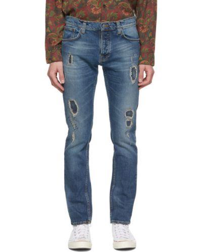 Синие джинсы стрейч с заплатками Nudie Jeans