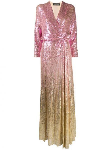 С рукавами розовое платье макси с пайетками Jenny Packham