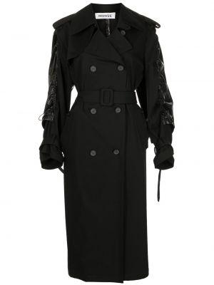 Czarny długi płaszcz bawełniany z długimi rękawami Monse