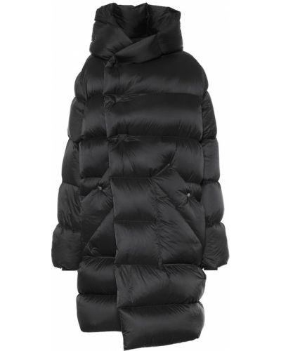 Asymetryczny puchaty czarny zimowy płaszcz Rick Owens