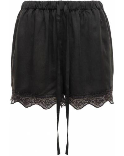 Czarne szorty koronkowe sznurowane Underprotection