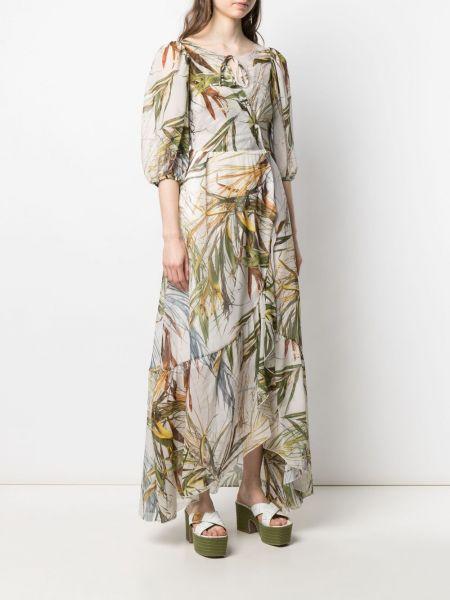 Шелковое платье макси с запахом с вырезом Sara Roka