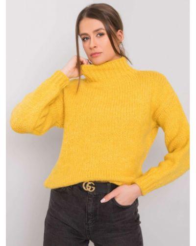 Żółty sweter z akrylu Fashionhunters