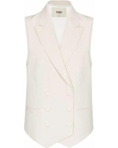 Шелковая белая жилетка двубортная Fendi