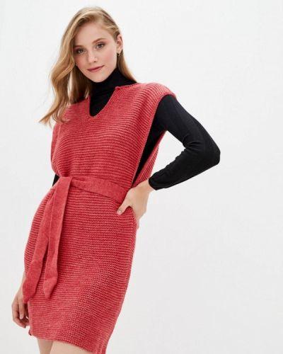 Трикотажное красное вязаное платье Прованс