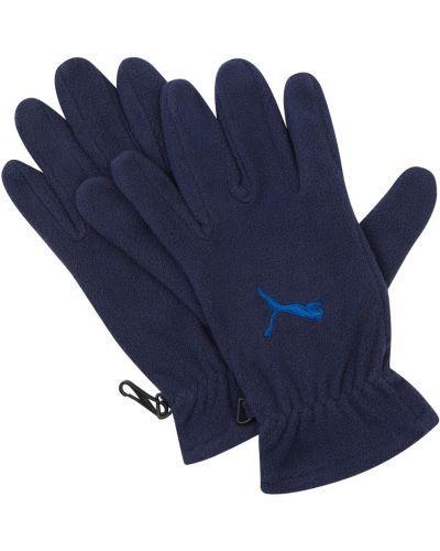 Синие флисовые перчатки на резинке Puma