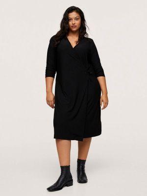 Платье с запахом - черное Violeta By Mango