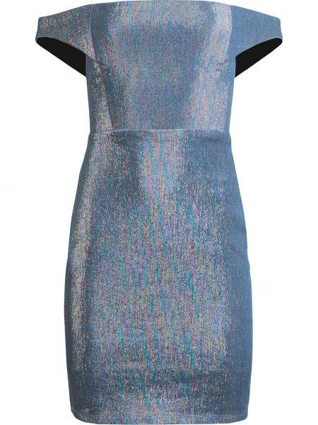 Синее приталенное платье с открытыми плечами без рукавов Michelle Mason