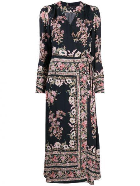Черное платье миди с запахом в цветочный принт Etro