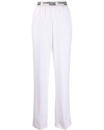 Прямые белые брюки с карманами из вискозы Courrèges