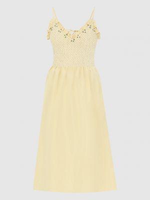 Желтое шелковое платье миди Miu Miu