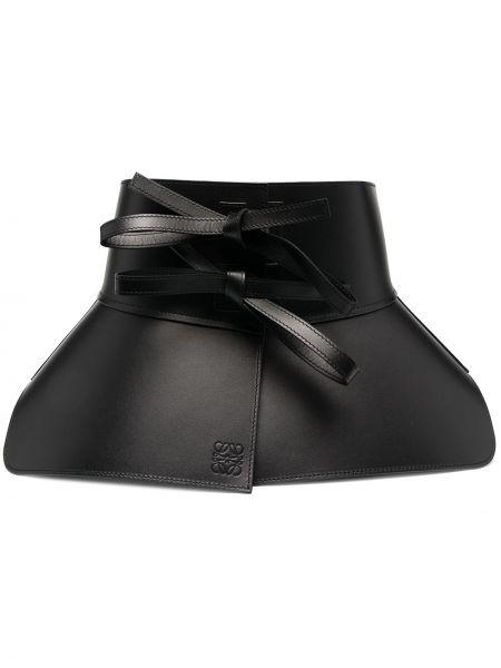 Skórzany czarny szeroki pasek z paskiem na paskach Loewe