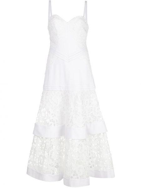 Белое расклешенное платье миди прозрачное с вырезом Alexis