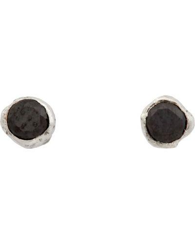 Czarne kolczyki sztyfty srebrne perły Pearls Before Swine