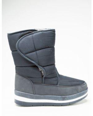 Синие текстильные зимние ботинки Saijun