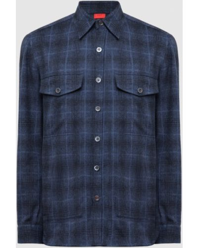 Шерстяная рубашка - синяя Isaia