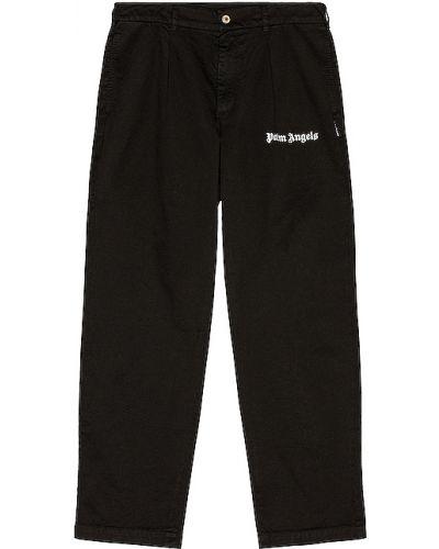Klasyczny bawełna bawełna czarny klasyczne spodnie Palm Angels