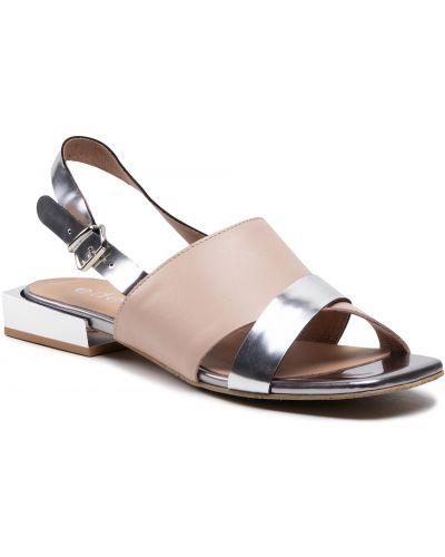 Beżowe sandały srebrne Edeo