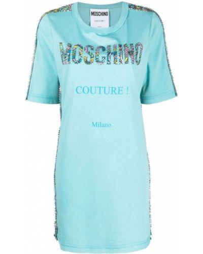 Хлопковое синее платье мини с вырезом Moschino