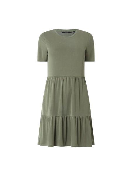 Zielona sukienka mini rozkloszowana z falbanami Vero Moda Curve