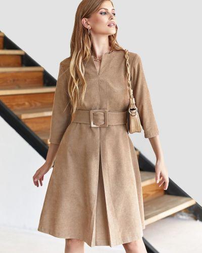 Платье вельветовое - бежевое Dressa