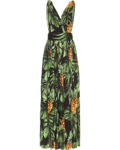 Ватное хлопковое зеленое платье макси стрейч Dolce & Gabbana