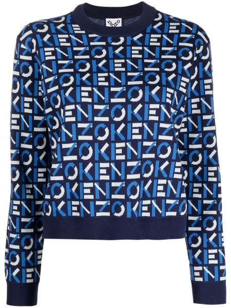Хлопковый темно-синий пуловер с длинными рукавами Kenzo