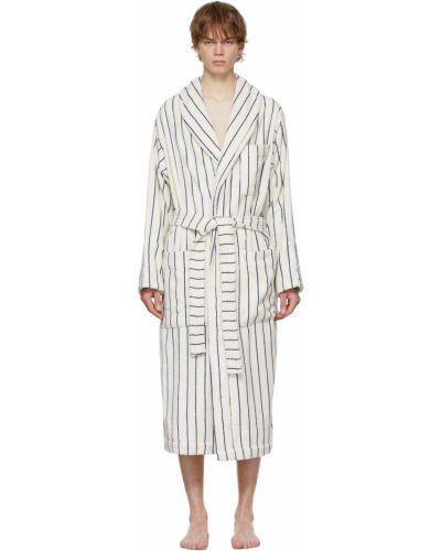 Biały długi szlafrok bawełniany w paski Tekla