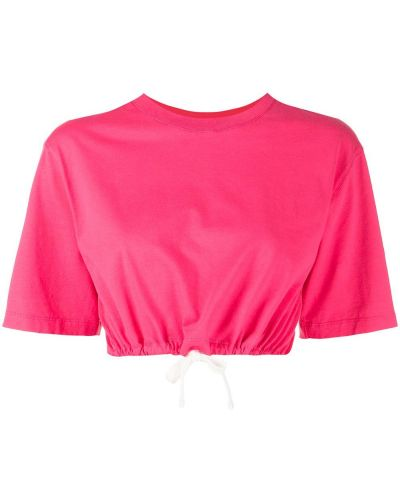 Розовая хлопковая футболка с вырезом Les Girls, Les Boys