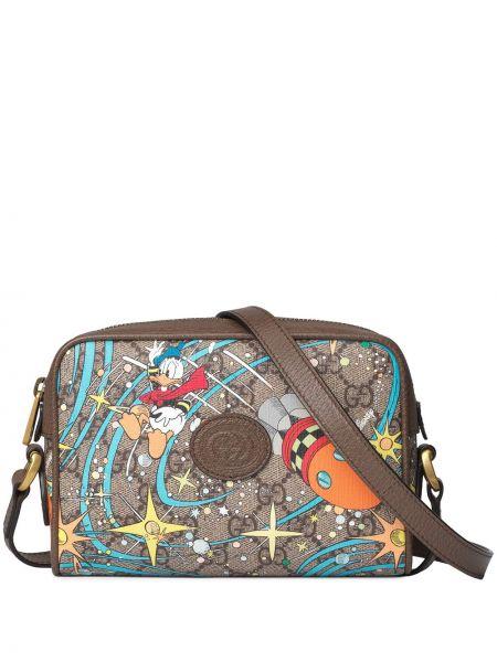 Brązowa torebka skórzana z printem Gucci