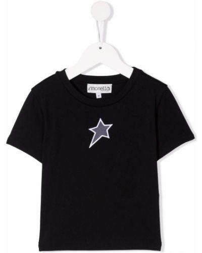 Czarna t-shirt krótki rękaw Simonetta