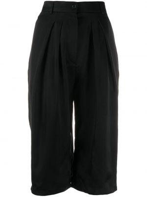Прямые черные шорты со складками на пуговицах Rochas