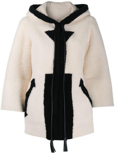 Белая кожаная длинная куртка с капюшоном Blancha