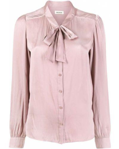 С рукавами розовая блузка с бантом Zadig&voltaire