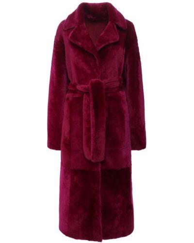 Пальто с поясом с мехом Drome